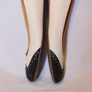 J. Crew Shoes - J.Crew Ivory Leather Black Glitter Wingtip Flats